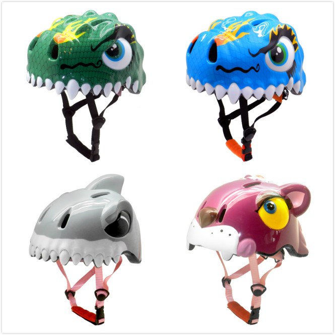 Adjustable 3d Animal Cute Children Bicycle Helmet With Led