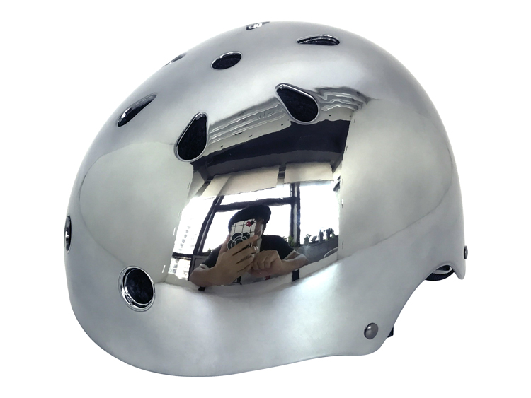 Chrome skateboard helmet