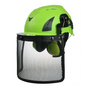 CE hard helmet Hi-Viz red, safety helmet with visor