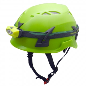 Outdoor PPE caving safety helmet with waterproof LED light head lamp