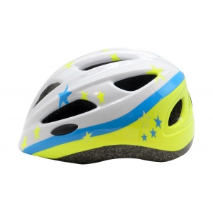 White With Blue Color Star Pattern Children Bike Helmet AU-C06