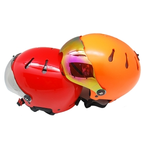 multifunctional ski helmet with visor,  ABS shell snow helmet factory in China, China skiing helmet suppliers