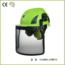 China Work at height tree climbing workers safety helmet AU-M02 with iron mesh factory